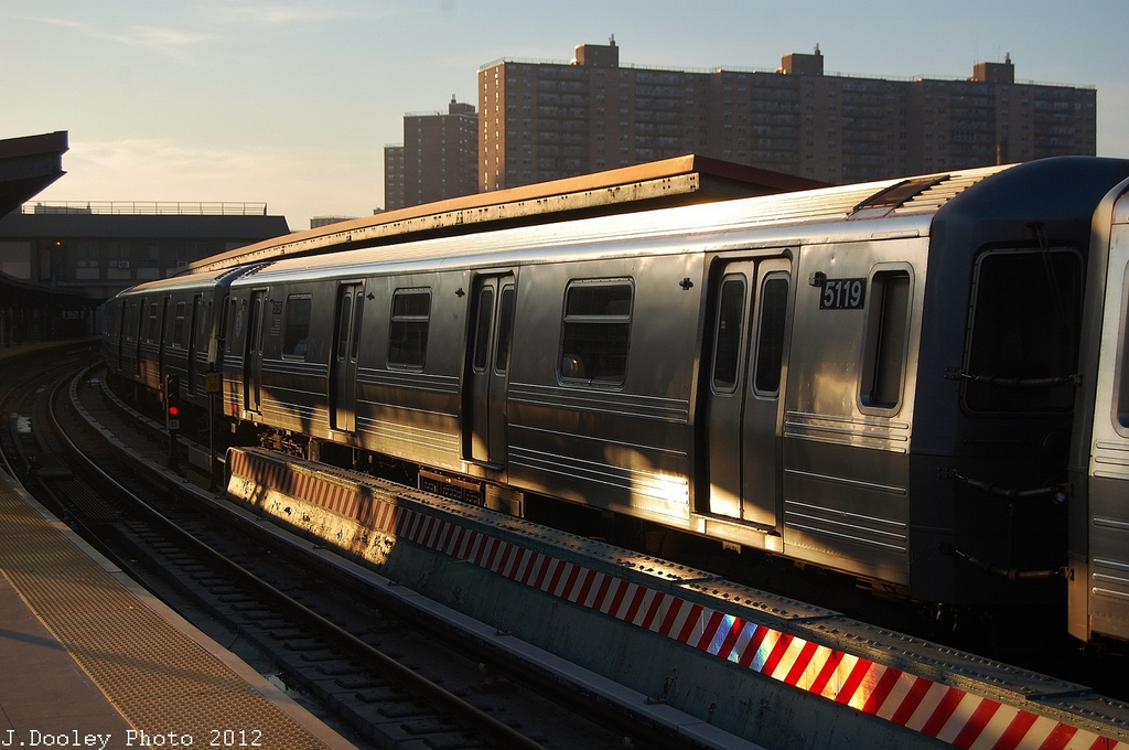 (305k, 1024x680)<br><b>Country:</b> United States<br><b>City:</b> New York<br><b>System:</b> New York City Transit<br><b>Line:</b> BMT Brighton Line<br><b>Location:</b> Ocean Parkway <br><b>Car:</b> R-68A (Kawasaki, 1988-1989)  5119 <br><b>Photo by:</b> John Dooley<br><b>Date:</b> 11/11/2012<br><b>Notes:</b> Post-Sandy layups due to Coney Island Yard cleanup<br><b>Viewed (this week/total):</b> 1 / 758