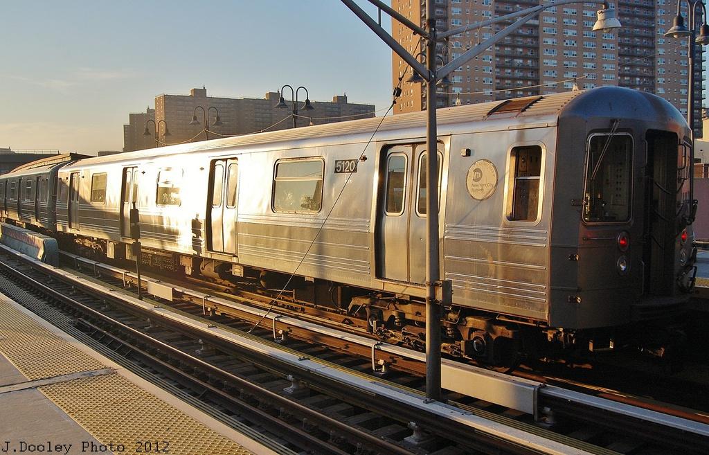 (377k, 1024x657)<br><b>Country:</b> United States<br><b>City:</b> New York<br><b>System:</b> New York City Transit<br><b>Line:</b> BMT Brighton Line<br><b>Location:</b> Ocean Parkway <br><b>Car:</b> R-68A (Kawasaki, 1988-1989)  5120 <br><b>Photo by:</b> John Dooley<br><b>Date:</b> 11/11/2012<br><b>Notes:</b> Post-Sandy layups due to Coney Island Yard cleanup<br><b>Viewed (this week/total):</b> 1 / 819