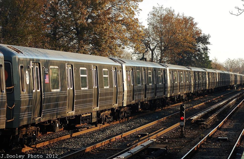 (489k, 1024x668)<br><b>Country:</b> United States<br><b>City:</b> New York<br><b>System:</b> New York City Transit<br><b>Line:</b> BMT Brighton Line<br><b>Location:</b> Avenue U <br><b>Car:</b> R-68A (Kawasaki, 1988-1989)  5152 <br><b>Photo by:</b> John Dooley<br><b>Date:</b> 11/11/2012<br><b>Notes:</b> Post-Sandy layups due to Coney Island Yard cleanup<br><b>Viewed (this week/total):</b> 2 / 790