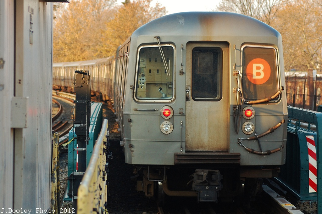(310k, 1024x680)<br><b>Country:</b> United States<br><b>City:</b> New York<br><b>System:</b> New York City Transit<br><b>Line:</b> BMT Brighton Line<br><b>Location:</b> Sheepshead Bay <br><b>Car:</b> R-68A (Kawasaki, 1988-1989)  5184 <br><b>Photo by:</b> John Dooley<br><b>Date:</b> 11/11/2012<br><b>Notes:</b> Post-Sandy layups due to Coney Island Yard cleanup<br><b>Viewed (this week/total):</b> 3 / 924