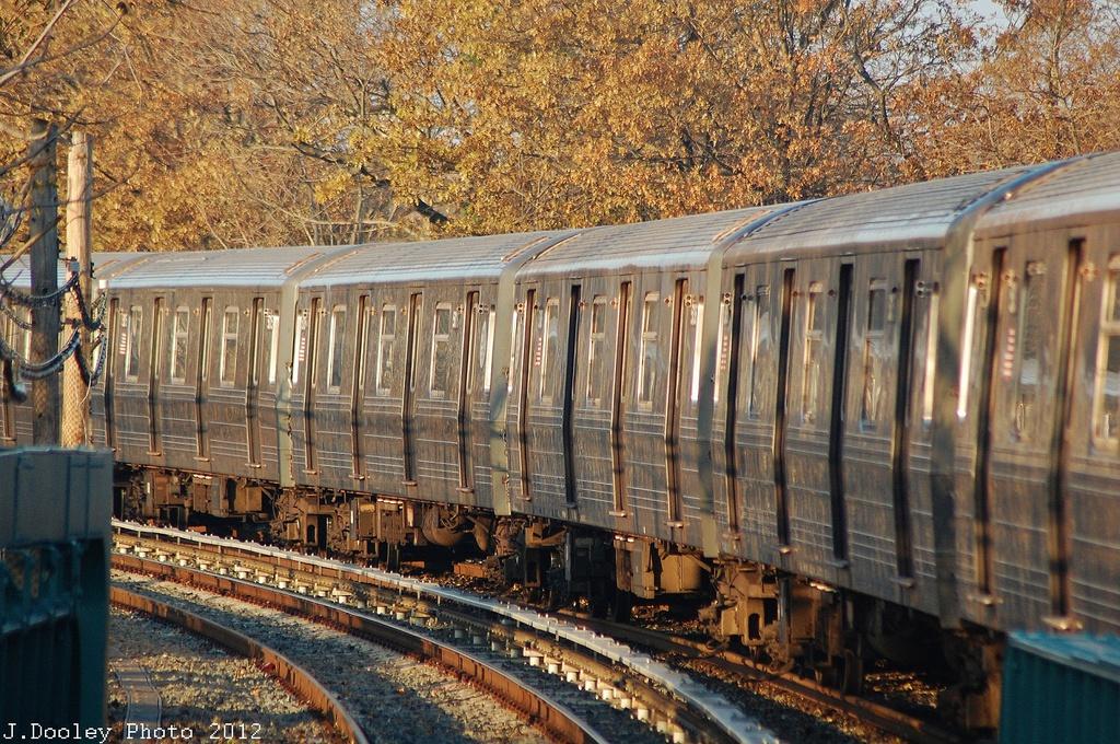 (470k, 1024x680)<br><b>Country:</b> United States<br><b>City:</b> New York<br><b>System:</b> New York City Transit<br><b>Line:</b> BMT Brighton Line<br><b>Location:</b> Sheepshead Bay <br><b>Car:</b> R-68/R-68A Series (Number Unknown)  <br><b>Photo by:</b> John Dooley<br><b>Date:</b> 11/11/2012<br><b>Notes:</b> Post-Sandy layups due to Coney Island Yard cleanup<br><b>Viewed (this week/total):</b> 0 / 741