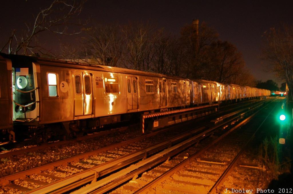 (316k, 1024x680)<br><b>Country:</b> United States<br><b>City:</b> New York<br><b>System:</b> New York City Transit<br><b>Line:</b> BMT Brighton Line<br><b>Location:</b> Avenue J <br><b>Route:</b> Layup<br><b>Car:</b> R-160A-2 (Alstom, 2005-2008, 5 car sets)  8657 <br><b>Photo by:</b> John Dooley<br><b>Date:</b> 11/11/2012<br><b>Notes:</b> Post-Sandy layups due to cleanup of Coney Island yard.<br><b>Viewed (this week/total):</b> 0 / 967