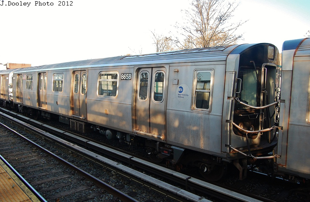 (333k, 1024x668)<br><b>Country:</b> United States<br><b>City:</b> New York<br><b>System:</b> New York City Transit<br><b>Line:</b> BMT Brighton Line<br><b>Location:</b> Avenue M <br><b>Route:</b> Layup<br><b>Car:</b> R-160A-2 (Alstom, 2005-2008, 5 car sets)  8658 <br><b>Photo by:</b> John Dooley<br><b>Date:</b> 11/11/2012<br><b>Notes:</b> Post-Sandy layups due to cleanup of Coney Island yard.<br><b>Viewed (this week/total):</b> 3 / 898