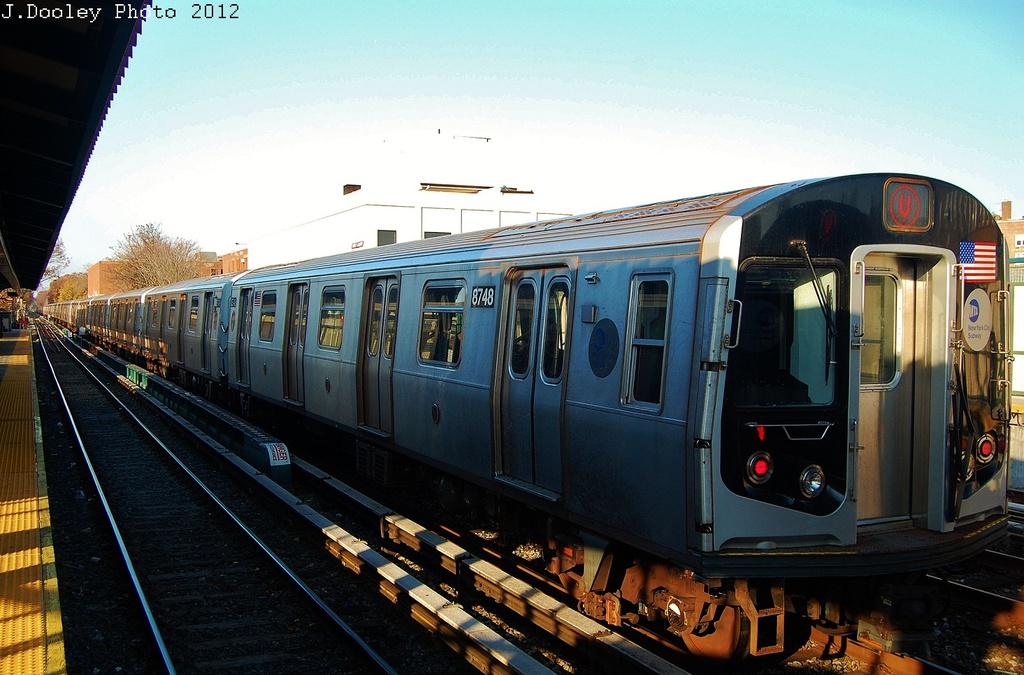 (325k, 1024x675)<br><b>Country:</b> United States<br><b>City:</b> New York<br><b>System:</b> New York City Transit<br><b>Line:</b> BMT Brighton Line<br><b>Location:</b> Avenue M <br><b>Route:</b> Layup<br><b>Car:</b> R-160B (Kawasaki, 2005-2008)  8748 <br><b>Photo by:</b> John Dooley<br><b>Date:</b> 11/11/2012<br><b>Notes:</b> Post-Sandy layups due to cleanup of Coney Island yard.<br><b>Viewed (this week/total):</b> 4 / 899