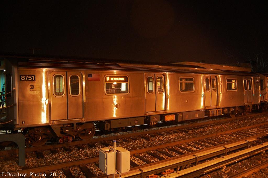 (324k, 1024x680)<br><b>Country:</b> United States<br><b>City:</b> New York<br><b>System:</b> New York City Transit<br><b>Line:</b> BMT Brighton Line<br><b>Location:</b> Avenue J <br><b>Route:</b> Layup<br><b>Car:</b> R-160B (Kawasaki, 2005-2008)  8751 <br><b>Photo by:</b> John Dooley<br><b>Date:</b> 11/11/2012<br><b>Notes:</b> Post-Sandy layups due to cleanup of Coney Island yard.<br><b>Viewed (this week/total):</b> 0 / 838