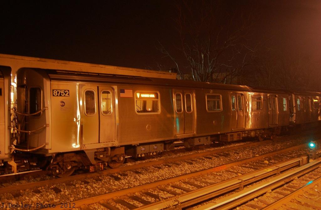(296k, 1024x669)<br><b>Country:</b> United States<br><b>City:</b> New York<br><b>System:</b> New York City Transit<br><b>Line:</b> BMT Brighton Line<br><b>Location:</b> Avenue J <br><b>Route:</b> Layup<br><b>Car:</b> R-160B (Kawasaki, 2005-2008)  8752 <br><b>Photo by:</b> John Dooley<br><b>Date:</b> 11/11/2012<br><b>Notes:</b> Post-Sandy layups due to cleanup of Coney Island yard.<br><b>Viewed (this week/total):</b> 0 / 791