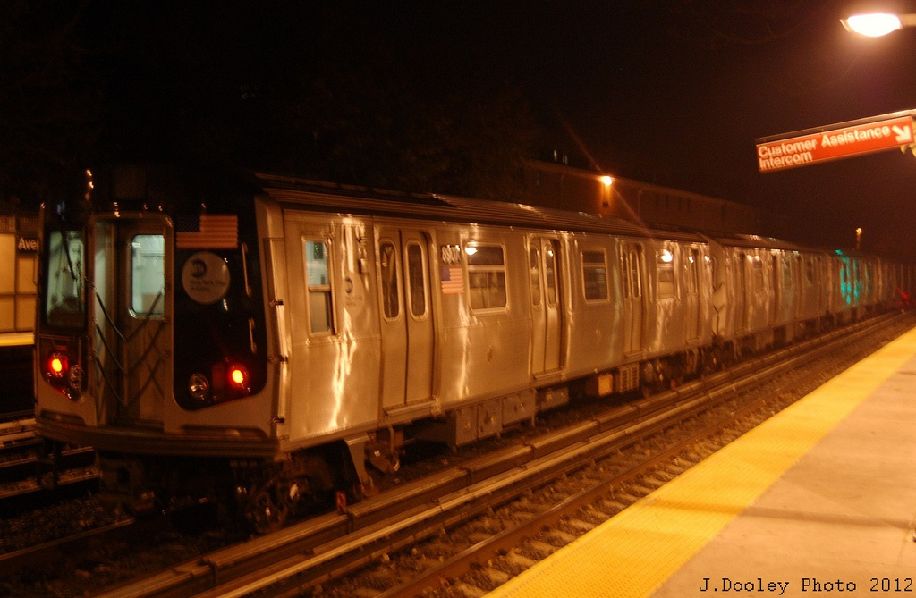 (267k, 1024x669)<br><b>Country:</b> United States<br><b>City:</b> New York<br><b>System:</b> New York City Transit<br><b>Line:</b> BMT Brighton Line<br><b>Location:</b> Avenue H <br><b>Route:</b> Layup<br><b>Car:</b> R-160B (Kawasaki, 2005-2008)  8907 <br><b>Photo by:</b> John Dooley<br><b>Date:</b> 11/12/2012<br><b>Notes:</b> Post-Sandy layups due to cleanup of Coney Island yard.<br><b>Viewed (this week/total):</b> 3 / 902