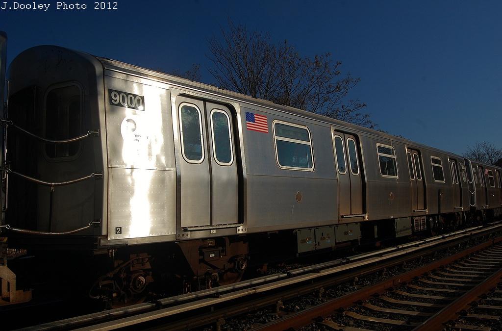 (283k, 1024x675)<br><b>Country:</b> United States<br><b>City:</b> New York<br><b>System:</b> New York City Transit<br><b>Line:</b> BMT Brighton Line<br><b>Location:</b> Avenue J <br><b>Route:</b> Layup<br><b>Car:</b> R-160B (Option 1) (Kawasaki, 2008-2009)  9000 <br><b>Photo by:</b> John Dooley<br><b>Date:</b> 11/11/2012<br><b>Notes:</b> Post-Sandy layups due to cleanup of Coney Island yard.<br><b>Viewed (this week/total):</b> 1 / 838