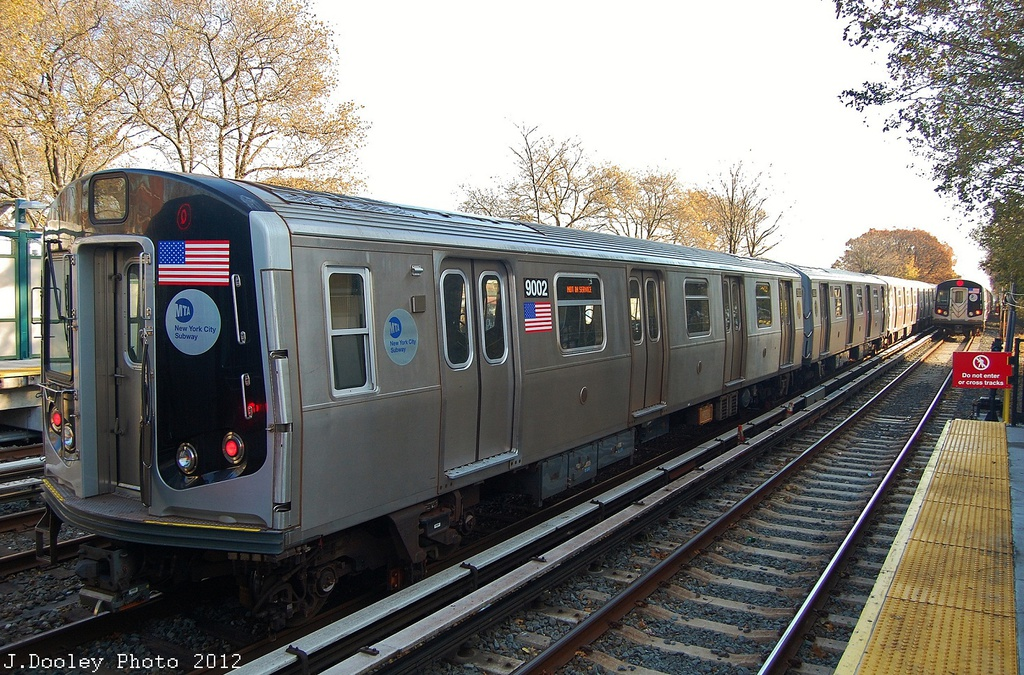 (411k, 1024x675)<br><b>Country:</b> United States<br><b>City:</b> New York<br><b>System:</b> New York City Transit<br><b>Line:</b> BMT Brighton Line<br><b>Location:</b> Avenue J <br><b>Route:</b> Layup<br><b>Car:</b> R-160B (Option 1) (Kawasaki, 2008-2009)  9002 <br><b>Photo by:</b> John Dooley<br><b>Date:</b> 11/11/2012<br><b>Notes:</b> Post-Sandy layups due to cleanup of Coney Island yard.<br><b>Viewed (this week/total):</b> 0 / 869