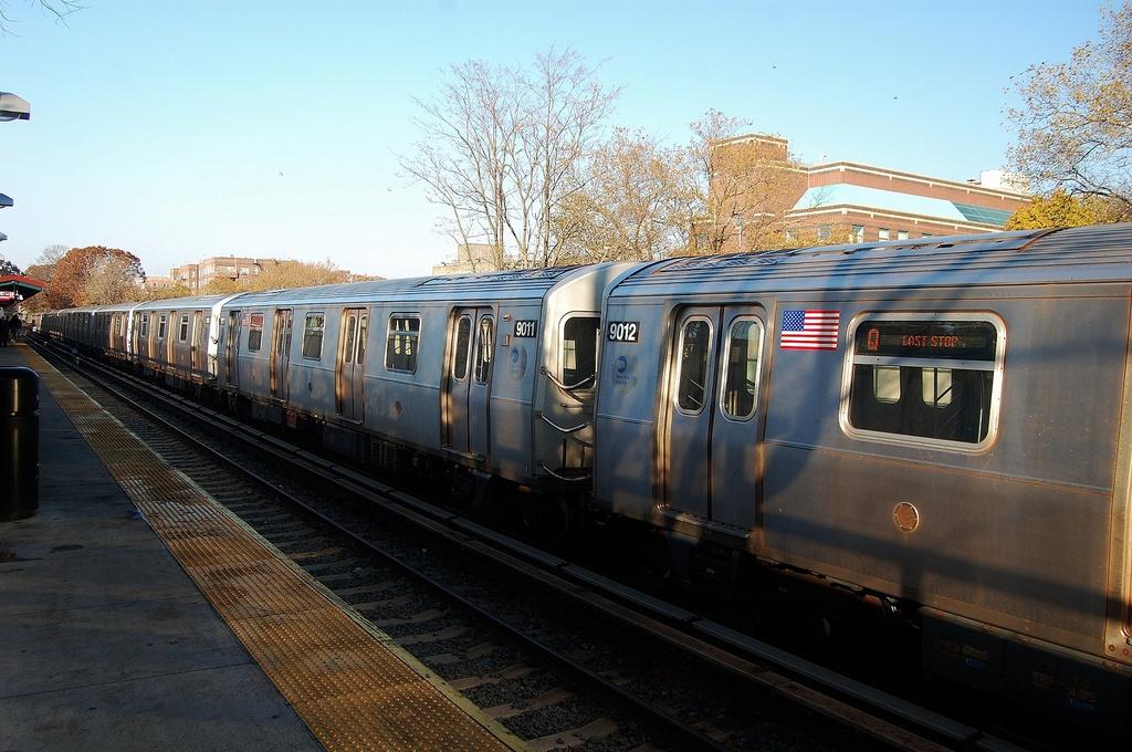 (334k, 1024x680)<br><b>Country:</b> United States<br><b>City:</b> New York<br><b>System:</b> New York City Transit<br><b>Line:</b> BMT Brighton Line<br><b>Location:</b> Avenue J <br><b>Route:</b> Layup<br><b>Car:</b> R-160B (Option 1) (Kawasaki, 2008-2009)  9011 <br><b>Photo by:</b> John Dooley<br><b>Date:</b> 11/11/2012<br><b>Notes:</b> Post-Sandy layups due to cleanup of Coney Island yard.<br><b>Viewed (this week/total):</b> 0 / 920