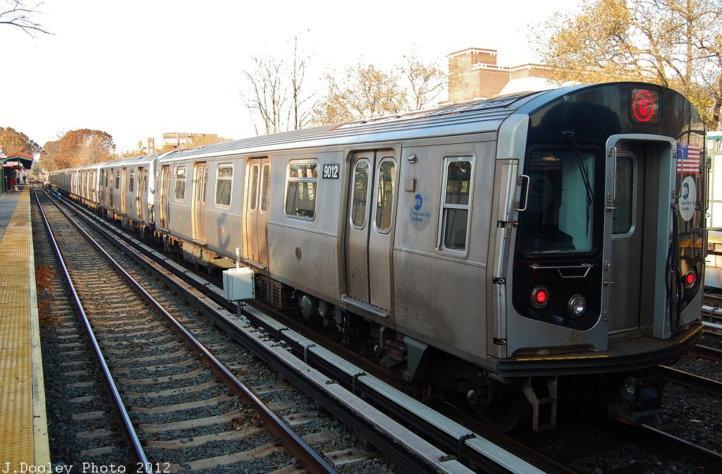 (375k, 1024x672)<br><b>Country:</b> United States<br><b>City:</b> New York<br><b>System:</b> New York City Transit<br><b>Line:</b> BMT Brighton Line<br><b>Location:</b> Avenue J <br><b>Route:</b> Layup<br><b>Car:</b> R-160B (Option 1) (Kawasaki, 2008-2009)  9012 <br><b>Photo by:</b> John Dooley<br><b>Date:</b> 11/11/2012<br><b>Notes:</b> Post-Sandy layups due to cleanup of Coney Island yard.<br><b>Viewed (this week/total):</b> 0 / 783