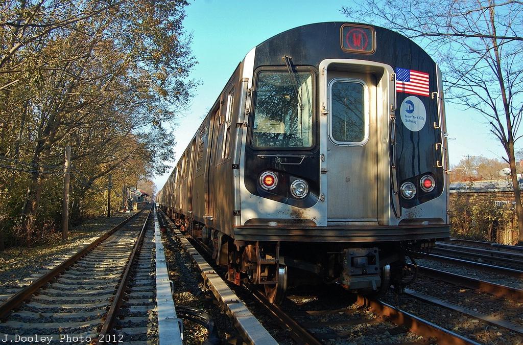 (494k, 1024x675)<br><b>Country:</b> United States<br><b>City:</b> New York<br><b>System:</b> New York City Transit<br><b>Line:</b> BMT Brighton Line<br><b>Location:</b> Avenue M <br><b>Route:</b> Layup<br><b>Car:</b> R-160B (Option 1) (Kawasaki, 2008-2009)  9158 <br><b>Photo by:</b> John Dooley<br><b>Date:</b> 11/11/2012<br><b>Notes:</b> Post-Sandy layups due to cleanup of Coney Island yard.<br><b>Viewed (this week/total):</b> 9 / 1281