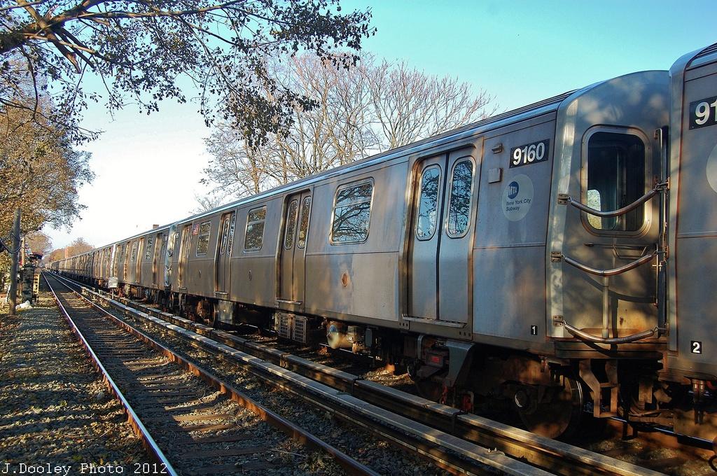 (460k, 1024x680)<br><b>Country:</b> United States<br><b>City:</b> New York<br><b>System:</b> New York City Transit<br><b>Line:</b> BMT Brighton Line<br><b>Location:</b> Avenue M <br><b>Route:</b> Layup<br><b>Car:</b> R-160B (Option 1) (Kawasaki, 2008-2009)  9160 <br><b>Photo by:</b> John Dooley<br><b>Date:</b> 11/11/2012<br><b>Notes:</b> Post-Sandy layups due to cleanup of Coney Island yard.<br><b>Viewed (this week/total):</b> 2 / 952