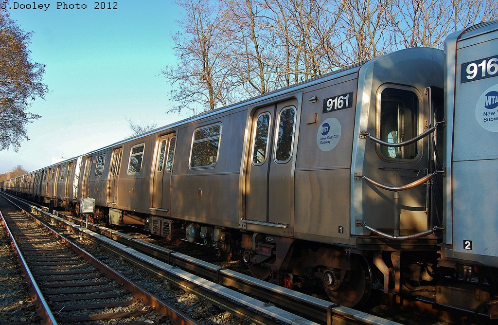 (418k, 1024x668)<br><b>Country:</b> United States<br><b>City:</b> New York<br><b>System:</b> New York City Transit<br><b>Line:</b> BMT Brighton Line<br><b>Location:</b> Avenue M <br><b>Route:</b> Layup<br><b>Car:</b> R-160B (Option 1) (Kawasaki, 2008-2009)  9161 <br><b>Photo by:</b> John Dooley<br><b>Date:</b> 11/11/2012<br><b>Notes:</b> Post-Sandy layups due to cleanup of Coney Island yard.<br><b>Viewed (this week/total):</b> 0 / 629