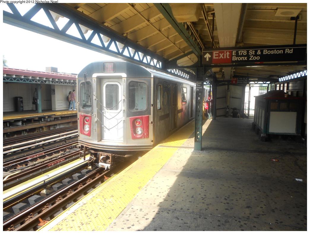 (397k, 1044x788)<br><b>Country:</b> United States<br><b>City:</b> New York<br><b>System:</b> New York City Transit<br><b>Line:</b> IRT White Plains Road Line<br><b>Location:</b> West Farms Sq./East Tremont Ave./177th St. <br><b>Route:</b> 2<br><b>Car:</b> R-142 or R-142A (Number Unknown)  <br><b>Photo by:</b> Nicholas Noel<br><b>Date:</b> 8/2/2012<br><b>Viewed (this week/total):</b> 0 / 960