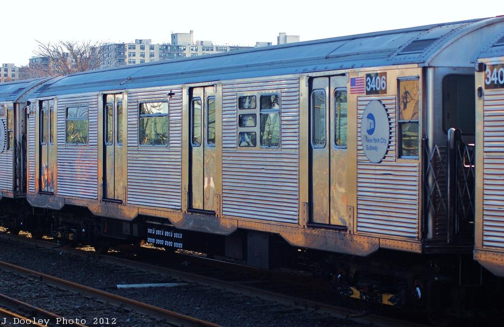 (315k, 1024x665)<br><b>Country:</b> United States<br><b>City:</b> New York<br><b>System:</b> New York City Transit<br><b>Location:</b> Rockaway Park Yard<br><b>Car:</b> R-32 (Budd, 1964)  3406 <br><b>Photo by:</b> John Dooley<br><b>Date:</b> 11/18/2012<br><b>Viewed (this week/total):</b> 2 / 624