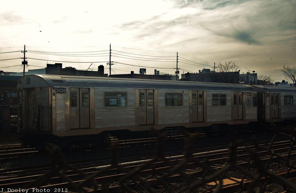 (257k, 1024x667)<br><b>Country:</b> United States<br><b>City:</b> New York<br><b>System:</b> New York City Transit<br><b>Location:</b> Rockaway Park Yard<br><b>Car:</b> R-32 (Budd, 1964)  3426 <br><b>Photo by:</b> John Dooley<br><b>Date:</b> 11/20/2012<br><b>Viewed (this week/total):</b> 1 / 658