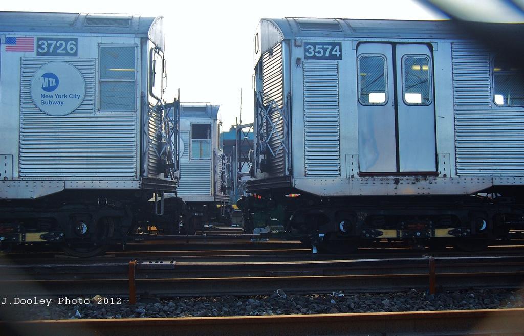 (297k, 1024x657)<br><b>Country:</b> United States<br><b>City:</b> New York<br><b>System:</b> New York City Transit<br><b>Location:</b> Rockaway Park Yard<br><b>Car:</b> R-32 (Budd, 1964)  3574 <br><b>Photo by:</b> John Dooley<br><b>Date:</b> 11/18/2012<br><b>Viewed (this week/total):</b> 3 / 876