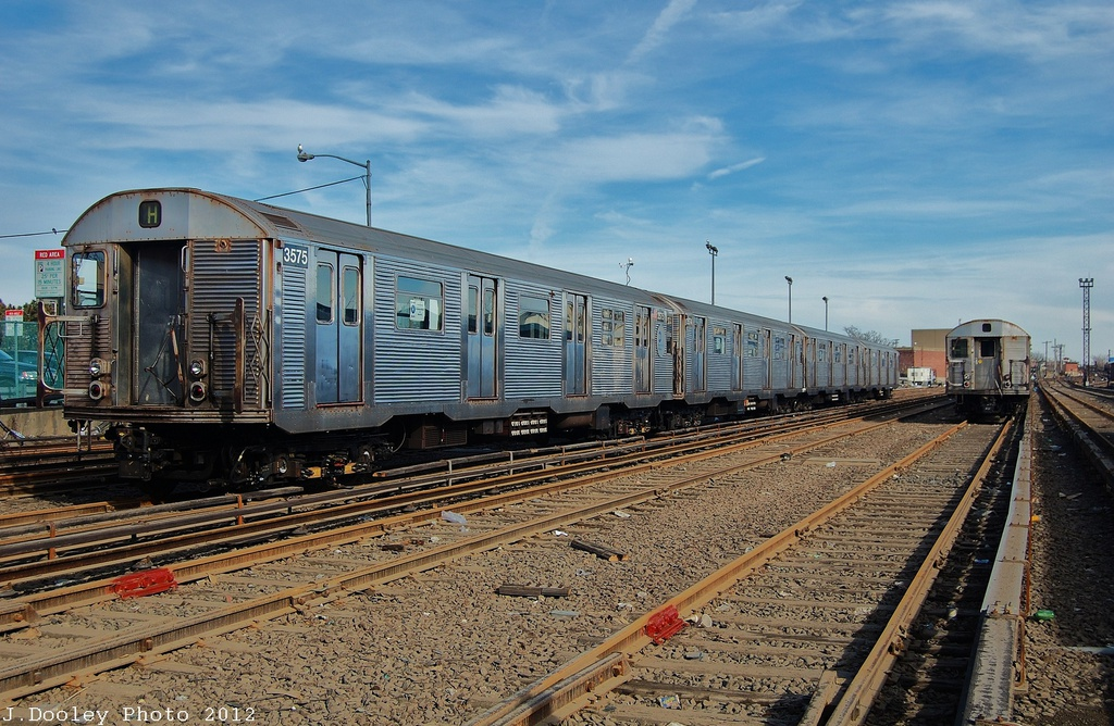 (375k, 1024x668)<br><b>Country:</b> United States<br><b>City:</b> New York<br><b>System:</b> New York City Transit<br><b>Location:</b> Rockaway Park Yard<br><b>Car:</b> R-32 (Budd, 1964)  3575 <br><b>Photo by:</b> John Dooley<br><b>Date:</b> 11/20/2012<br><b>Viewed (this week/total):</b> 0 / 973
