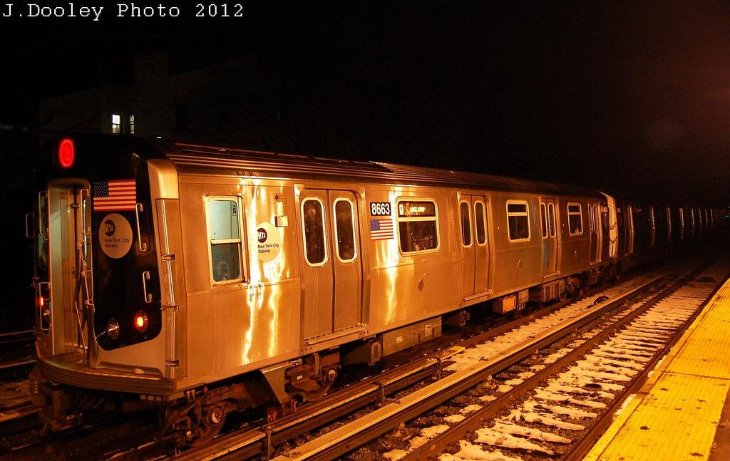 (333k, 1024x647)<br><b>Country:</b> United States<br><b>City:</b> New York<br><b>System:</b> New York City Transit<br><b>Line:</b> BMT Brighton Line<br><b>Location:</b> Kings Highway <br><b>Car:</b> R-160A-2 (Alstom, 2005-2008, 5 car sets)  8663 <br><b>Photo by:</b> John Dooley<br><b>Date:</b> 11/8/2012<br><b>Notes:</b> Post Hurricane Sandy layups.<br><b>Viewed (this week/total):</b> 0 / 1058