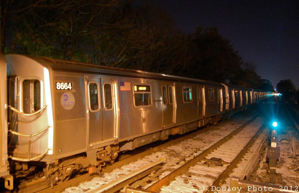 (314k, 1024x659)<br><b>Country:</b> United States<br><b>City:</b> New York<br><b>System:</b> New York City Transit<br><b>Line:</b> BMT Brighton Line<br><b>Location:</b> Kings Highway <br><b>Car:</b> R-160A-2 (Alstom, 2005-2008, 5 car sets)  8664 <br><b>Photo by:</b> John Dooley<br><b>Date:</b> 11/8/2012<br><b>Notes:</b> Post Hurricane Sandy layups.<br><b>Viewed (this week/total):</b> 0 / 1035
