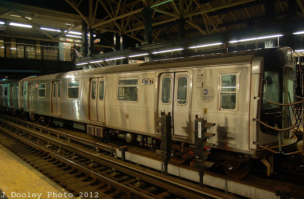 (364k, 1024x673)<br><b>Country:</b> United States<br><b>City:</b> New York<br><b>System:</b> New York City Transit<br><b>Location:</b> Coney Island/Stillwell Avenue<br><b>Car:</b> R-160B (Kawasaki, 2005-2008)  8747 <br><b>Photo by:</b> John Dooley<br><b>Date:</b> 11/8/2012<br><b>Notes:</b> Post Hurricane Sandy layups.<br><b>Viewed (this week/total):</b> 1 / 1124