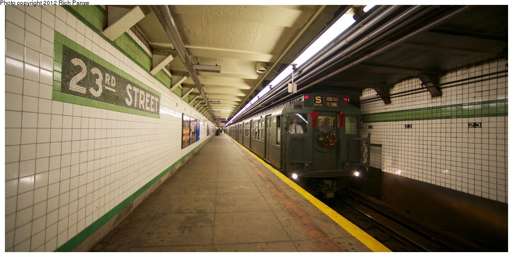 (207k, 1044x524)<br><b>Country:</b> United States<br><b>City:</b> New York<br><b>System:</b> New York City Transit<br><b>Line:</b> IND 6th Avenue Line<br><b>Location:</b> 23rd Street <br><b>Route:</b> Museum Train Service<br><b>Car:</b> R-4 (American Car & Foundry, 1932-1933) 484 <br><b>Photo by:</b> Richard Panse<br><b>Date:</b> 12/2/2012<br><b>Viewed (this week/total):</b> 1 / 1030