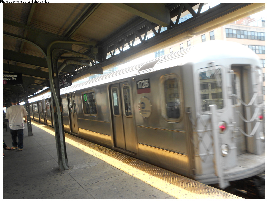 (334k, 1044x788)<br><b>Country:</b> United States<br><b>City:</b> New York<br><b>System:</b> New York City Transit<br><b>Line:</b> IRT Flushing Line<br><b>Location:</b> Queensborough Plaza <br><b>Route:</b> 7<br><b>Car:</b> R-62A (Bombardier, 1984-1987)  1726 <br><b>Photo by:</b> Nicholas Noel<br><b>Date:</b> 6/2/2012<br><b>Viewed (this week/total):</b> 0 / 952