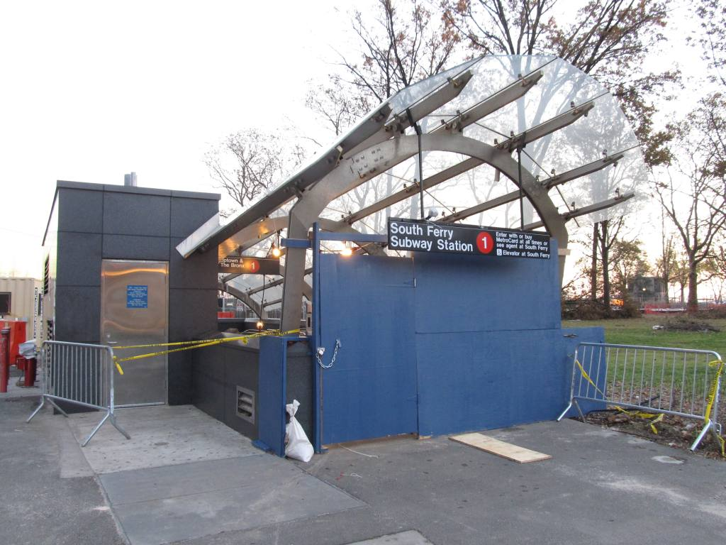 (129k, 1024x768)<br><b>Country:</b> United States<br><b>City:</b> New York<br><b>System:</b> New York City Transit<br><b>Line:</b> IRT West Side Line<br><b>Location:</b> South Ferry (New Station) <br><b>Photo by:</b> Robbie Rosenfeld<br><b>Date:</b> 11/14/2012<br><b>Notes:</b> Post-Sandy<br><b>Viewed (this week/total):</b> 0 / 1383