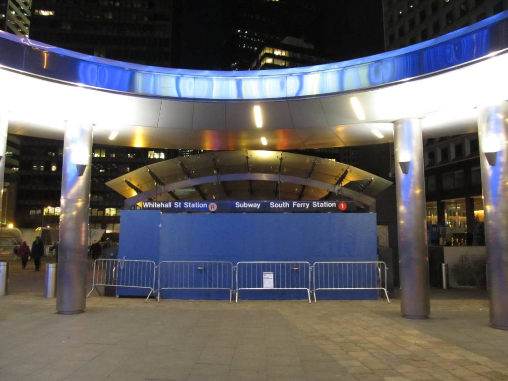 (92k, 1024x768)<br><b>Country:</b> United States<br><b>City:</b> New York<br><b>System:</b> New York City Transit<br><b>Line:</b> IRT West Side Line<br><b>Location:</b> South Ferry (New Station) <br><b>Photo by:</b> Robbie Rosenfeld<br><b>Date:</b> 11/14/2012<br><b>Notes:</b> Post-Sandy<br><b>Viewed (this week/total):</b> 2 / 1419