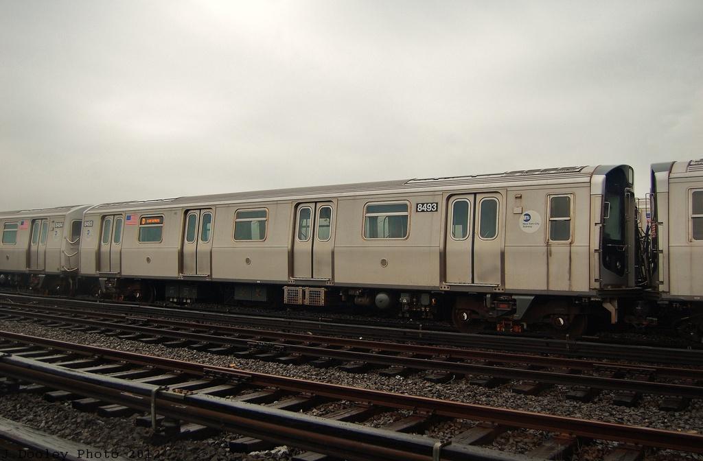 (261k, 1024x672)<br><b>Country:</b> United States<br><b>City:</b> New York<br><b>System:</b> New York City Transit<br><b>Location:</b> Coney Island Yard<br><b>Car:</b> R-160A-1 (Alstom, 2005-2008, 4 car sets)  8493 <br><b>Photo by:</b> John Dooley<br><b>Date:</b> 12/9/2012<br><b>Viewed (this week/total):</b> 3 / 616