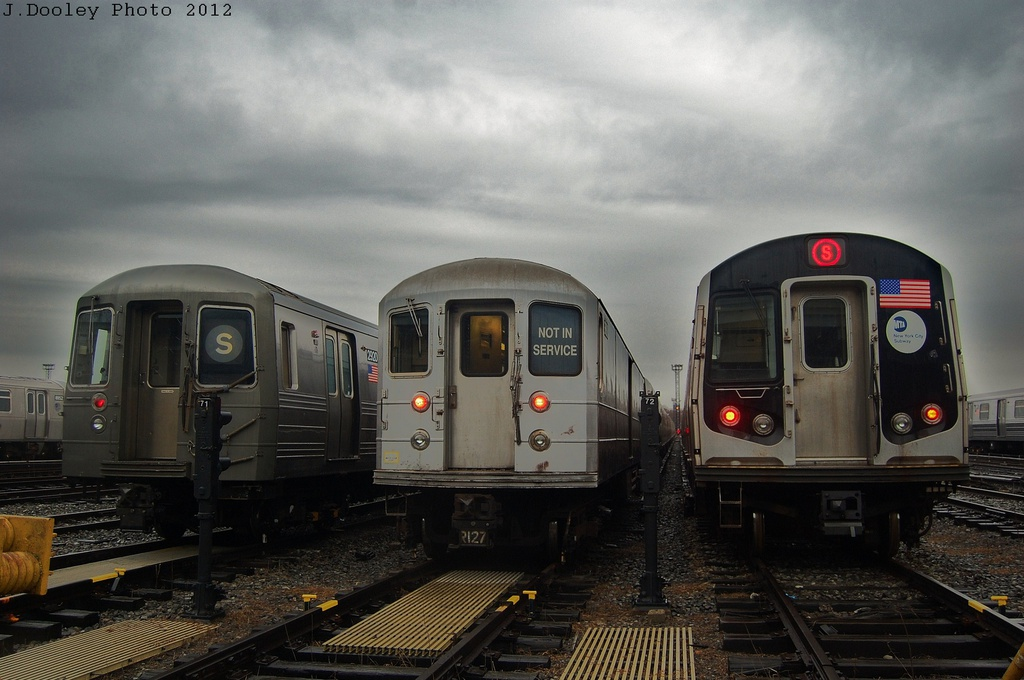 (281k, 1024x680)<br><b>Country:</b> United States<br><b>City:</b> New York<br><b>System:</b> New York City Transit<br><b>Location:</b> Coney Island Yard<br><b>Car:</b> R-68 (Westinghouse-Amrail, 1986-1988)  2920 <br><b>Photo by:</b> John Dooley<br><b>Date:</b> 12/9/2012<br><b>Notes:</b> With R-127 EP006 and R-160<br><b>Viewed (this week/total):</b> 1 / 1374