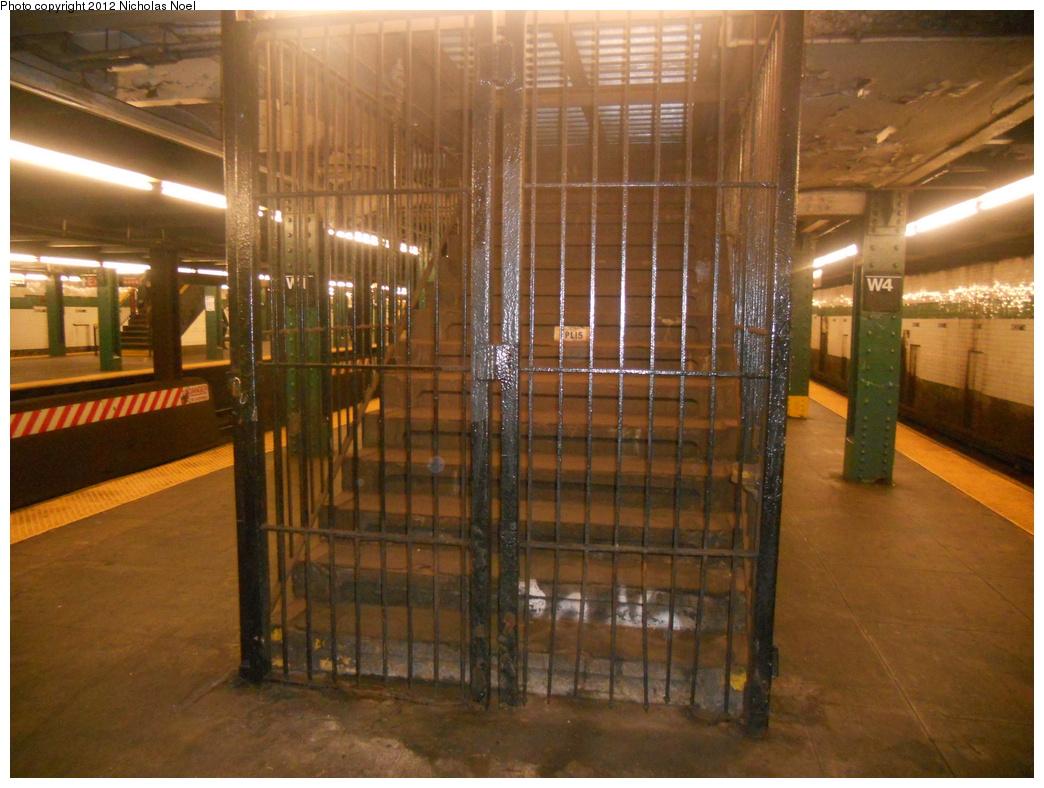 (380k, 1044x788)<br><b>Country:</b> United States<br><b>City:</b> New York<br><b>System:</b> New York City Transit<br><b>Line:</b> IND 6th Avenue Line<br><b>Location:</b> West 4th Street/Washington Square <br><b>Photo by:</b> Nicholas Noel<br><b>Date:</b> 12/9/2012<br><b>Notes:</b> Closed stairway- north end<br><b>Viewed (this week/total):</b> 2 / 824