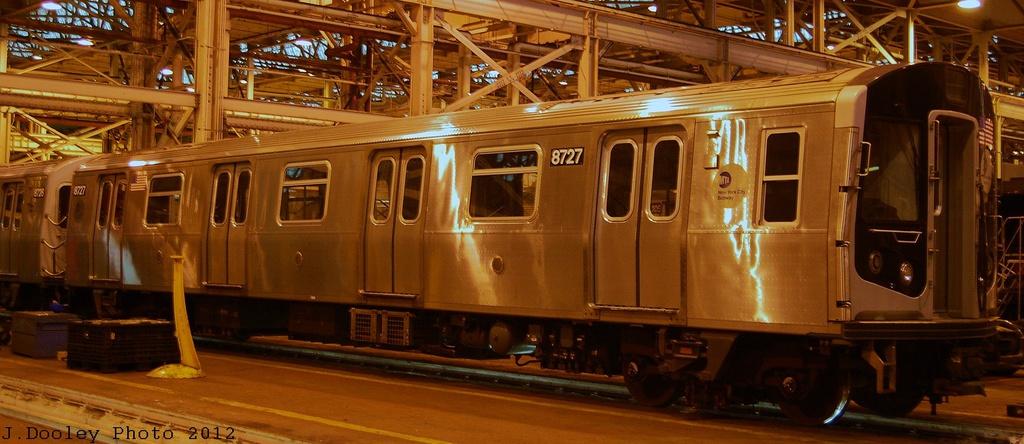 (255k, 1024x444)<br><b>Country:</b> United States<br><b>City:</b> New York<br><b>System:</b> New York City Transit<br><b>Location:</b> Coney Island Shop/Overhaul & Repair Shop<br><b>Car:</b> R-160B (Kawasaki, 2005-2008)  8727 <br><b>Photo by:</b> John Dooley<br><b>Date:</b> 12/8/2012<br><b>Viewed (this week/total):</b> 3 / 693
