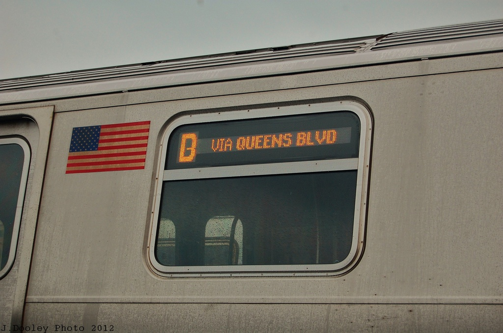 (283k, 1024x678)<br><b>Country:</b> United States<br><b>City:</b> New York<br><b>System:</b> New York City Transit<br><b>Location:</b> Coney Island Yard<br><b>Car:</b> R-160A/R-160B Series (Number Unknown)  <br><b>Photo by:</b> John Dooley<br><b>Date:</b> 12/9/2012<br><b>Notes:</b> D via Qns Blvd sign.<br><b>Viewed (this week/total):</b> 2 / 1312