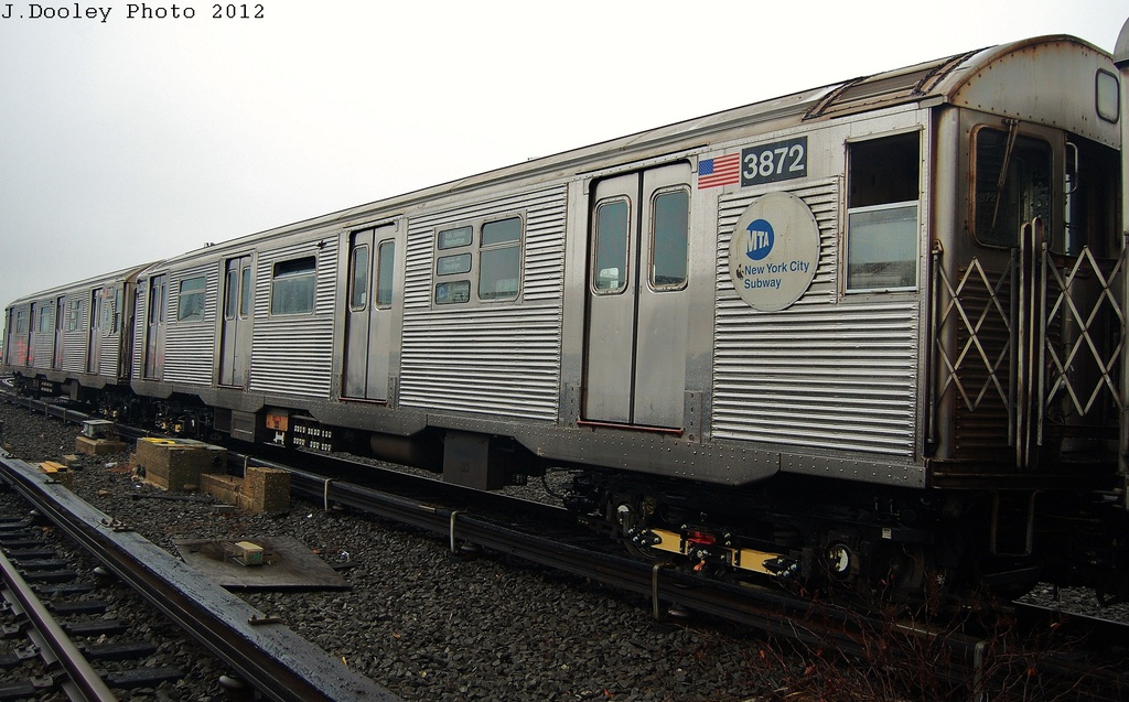 (316k, 1024x637)<br><b>Country:</b> United States<br><b>City:</b> New York<br><b>System:</b> New York City Transit<br><b>Location:</b> Coney Island Yard<br><b>Car:</b> R-32 (Budd, 1964)  3872 <br><b>Photo by:</b> John Dooley<br><b>Date:</b> 12/8/2012<br><b>Viewed (this week/total):</b> 1 / 618