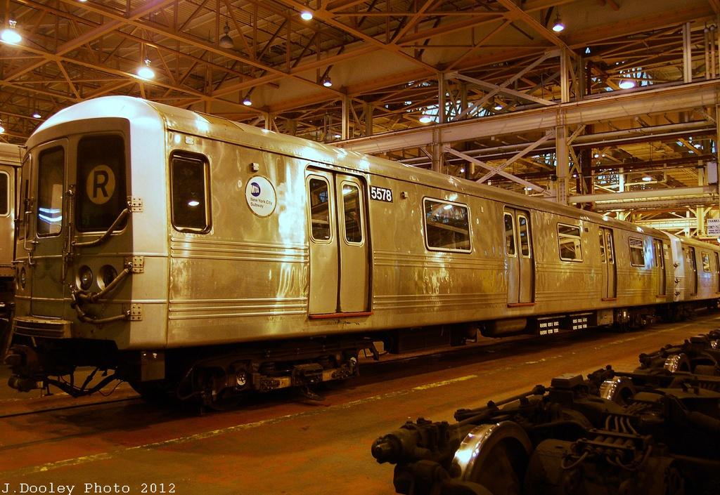 (376k, 1024x705)<br><b>Country:</b> United States<br><b>City:</b> New York<br><b>System:</b> New York City Transit<br><b>Location:</b> Coney Island Shop/Overhaul & Repair Shop<br><b>Car:</b> R-46 (Pullman-Standard, 1974-75) 5578 <br><b>Photo by:</b> John Dooley<br><b>Date:</b> 12/8/2012<br><b>Viewed (this week/total):</b> 10 / 700