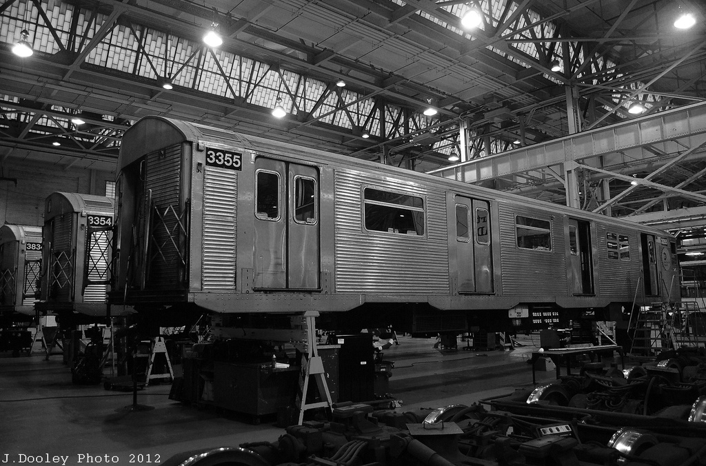 (359k, 1024x676)<br><b>Country:</b> United States<br><b>City:</b> New York<br><b>System:</b> New York City Transit<br><b>Location:</b> Coney Island Shop/Overhaul & Repair Shop<br><b>Car:</b> R-32 (Budd, 1964)  3355/3354 <br><b>Photo by:</b> John Dooley<br><b>Date:</b> 12/8/2012<br><b>Viewed (this week/total):</b> 0 / 788