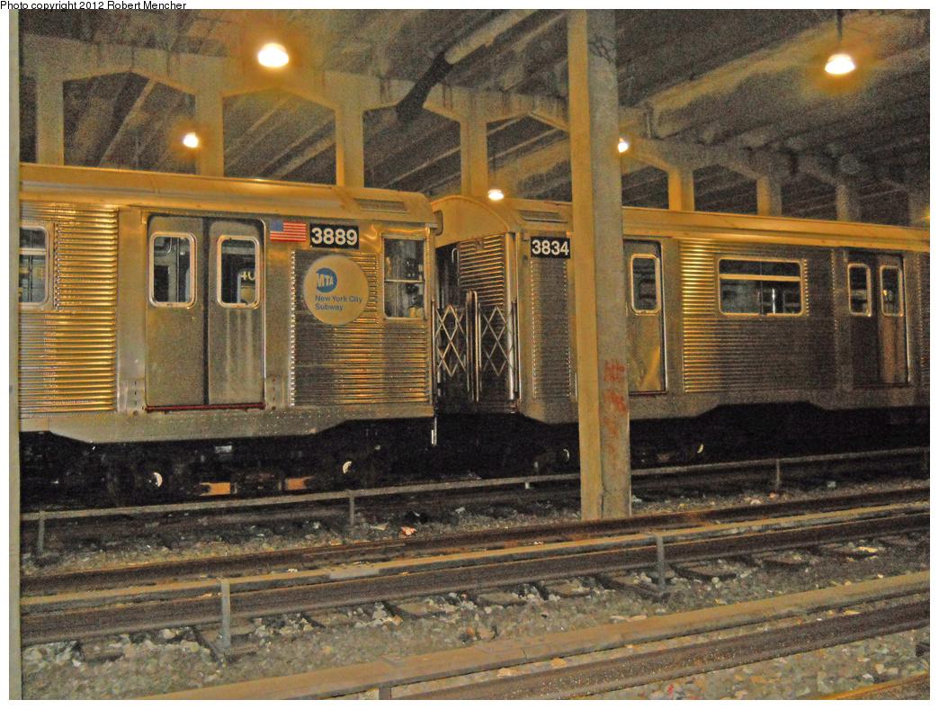 (514k, 1044x788)<br><b>Country:</b> United States<br><b>City:</b> New York<br><b>System:</b> New York City Transit<br><b>Location:</b> Pitkin Yard/Shops<br><b>Car:</b> R-32 (Budd, 1964)  3889/3834 <br><b>Photo by:</b> Robert Mencher<br><b>Date:</b> 10/20/2012<br><b>Viewed (this week/total):</b> 1 / 944