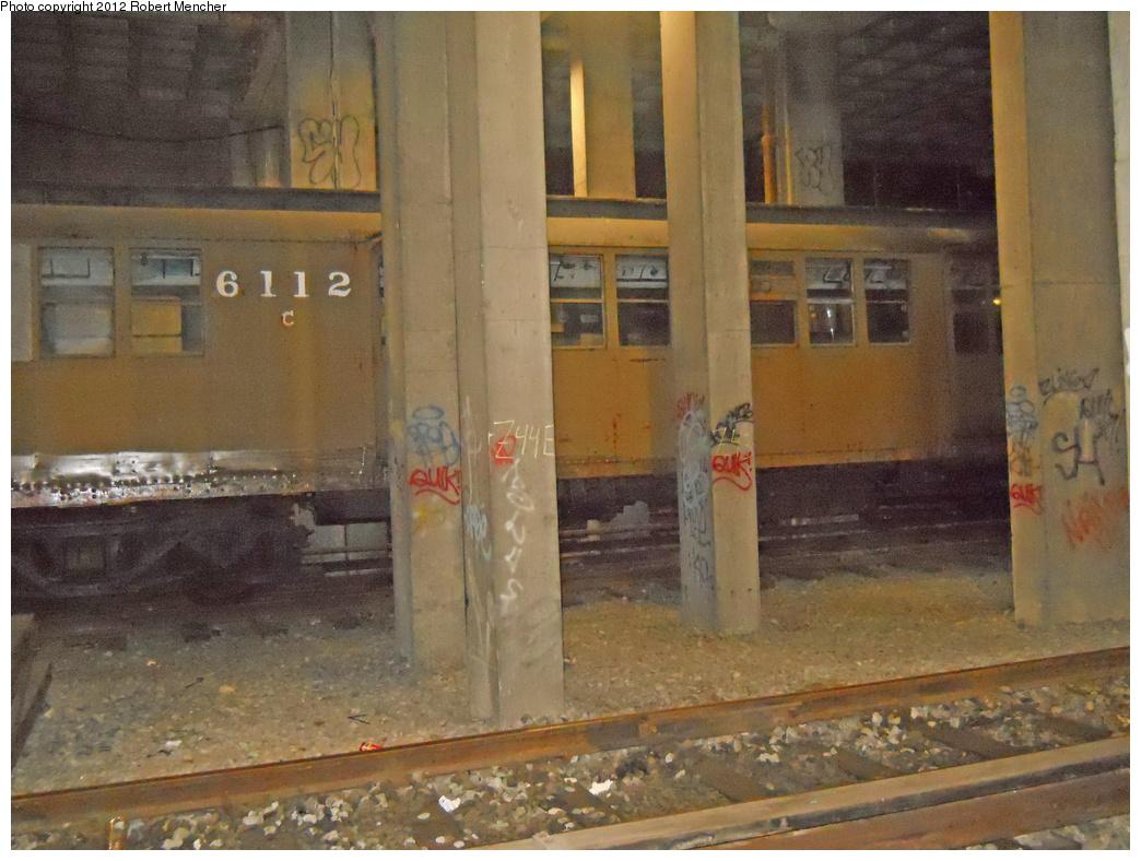 (385k, 1044x788)<br><b>Country:</b> United States<br><b>City:</b> New York<br><b>System:</b> New York City Transit<br><b>Location:</b> Pitkin Yard/Shops<br><b>Car:</b> BMT D-Type Triplex 6112 <br><b>Photo by:</b> Robert Mencher<br><b>Date:</b> 10/20/2012<br><b>Viewed (this week/total):</b> 0 / 1152