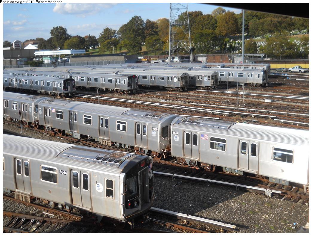(490k, 1044x788)<br><b>Country:</b> United States<br><b>City:</b> New York<br><b>System:</b> New York City Transit<br><b>Location:</b> East New York Yard/Shops<br><b>Car:</b> R-160A-1 (Alstom, 2005-2008, 4 car sets)  8550/8549 <br><b>Photo by:</b> Robert Mencher<br><b>Date:</b> 10/21/2012<br><b>Viewed (this week/total):</b> 4 / 614