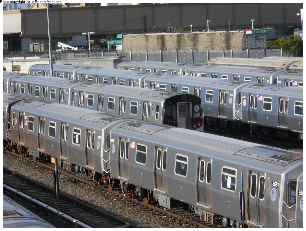 (423k, 1044x788)<br><b>Country:</b> United States<br><b>City:</b> New York<br><b>System:</b> New York City Transit<br><b>Location:</b> East New York Yard/Shops<br><b>Car:</b> R-160A-1 (Alstom, 2005-2008, 4 car sets)  8551 <br><b>Photo by:</b> Robert Mencher<br><b>Date:</b> 10/21/2012<br><b>Viewed (this week/total):</b> 1 / 529