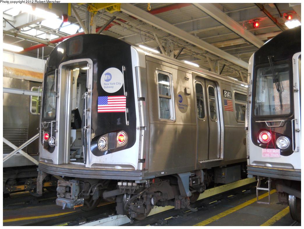 (395k, 1044x788)<br><b>Country:</b> United States<br><b>City:</b> New York<br><b>System:</b> New York City Transit<br><b>Location:</b> East New York Yard/Shops<br><b>Car:</b> R-143 (Kawasaki, 2001-2002) 8141 <br><b>Photo by:</b> Robert Mencher<br><b>Date:</b> 10/21/2012<br><b>Viewed (this week/total):</b> 0 / 545