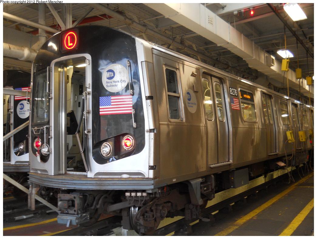 (388k, 1044x788)<br><b>Country:</b> United States<br><b>City:</b> New York<br><b>System:</b> New York City Transit<br><b>Location:</b> East New York Yard/Shops<br><b>Car:</b> R-143 (Kawasaki, 2001-2002) 8276 <br><b>Photo by:</b> Robert Mencher<br><b>Date:</b> 10/21/2012<br><b>Viewed (this week/total):</b> 1 / 719