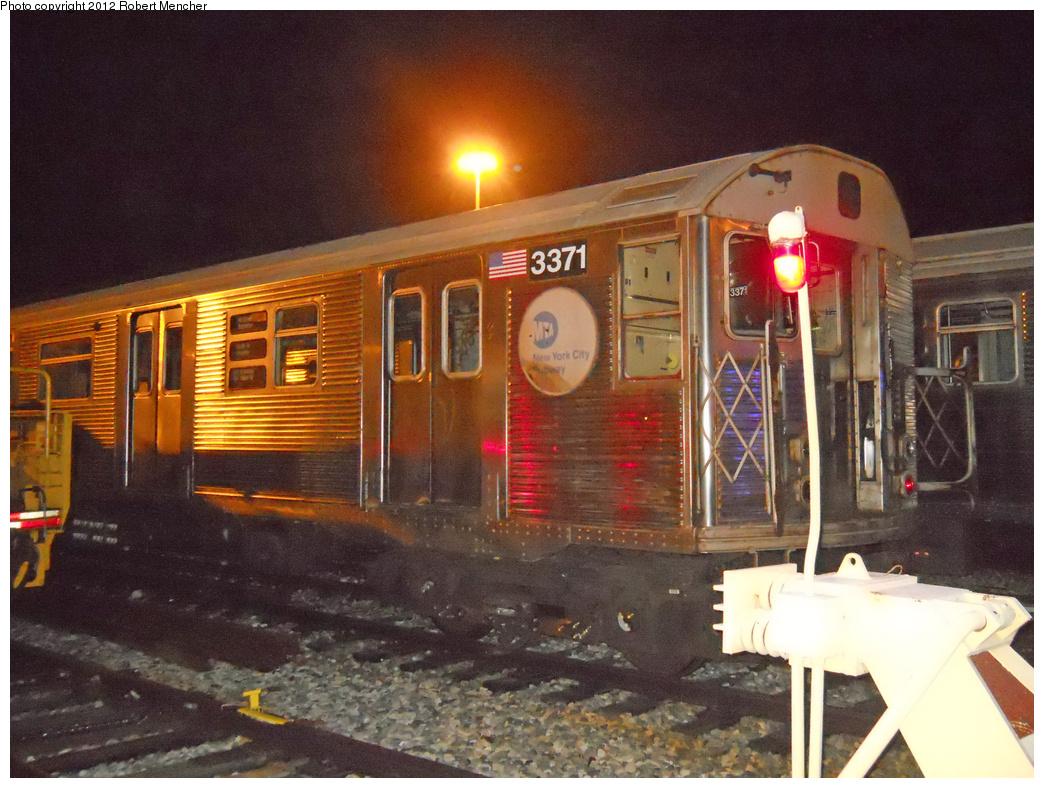 (428k, 1044x788)<br><b>Country:</b> United States<br><b>City:</b> New York<br><b>System:</b> New York City Transit<br><b>Location:</b> East New York Yard/Shops<br><b>Car:</b> R-32 (Budd, 1964)  3371 <br><b>Photo by:</b> Robert Mencher<br><b>Date:</b> 10/21/2012<br><b>Viewed (this week/total):</b> 0 / 866