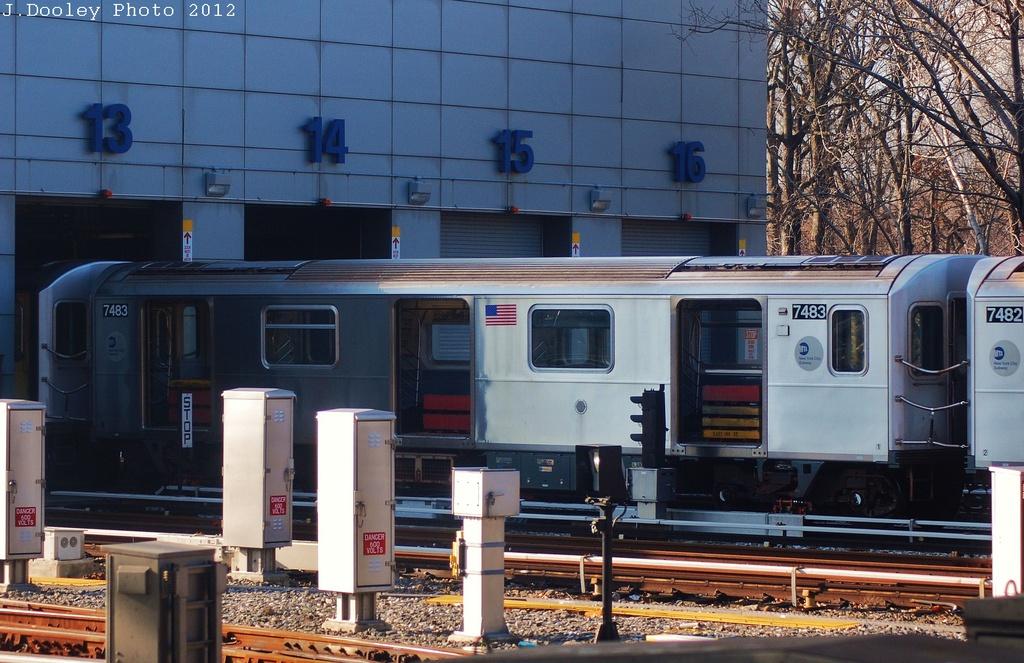 (338k, 1024x663)<br><b>Country:</b> United States<br><b>City:</b> New York<br><b>System:</b> New York City Transit<br><b>Location:</b> East 180th Street Yard<br><b>Car:</b> R-142A (Primary Order, Kawasaki, 1999-2002)  7483 <br><b>Photo by:</b> John Dooley<br><b>Date:</b> 12/18/2012<br><b>Viewed (this week/total):</b> 0 / 1078
