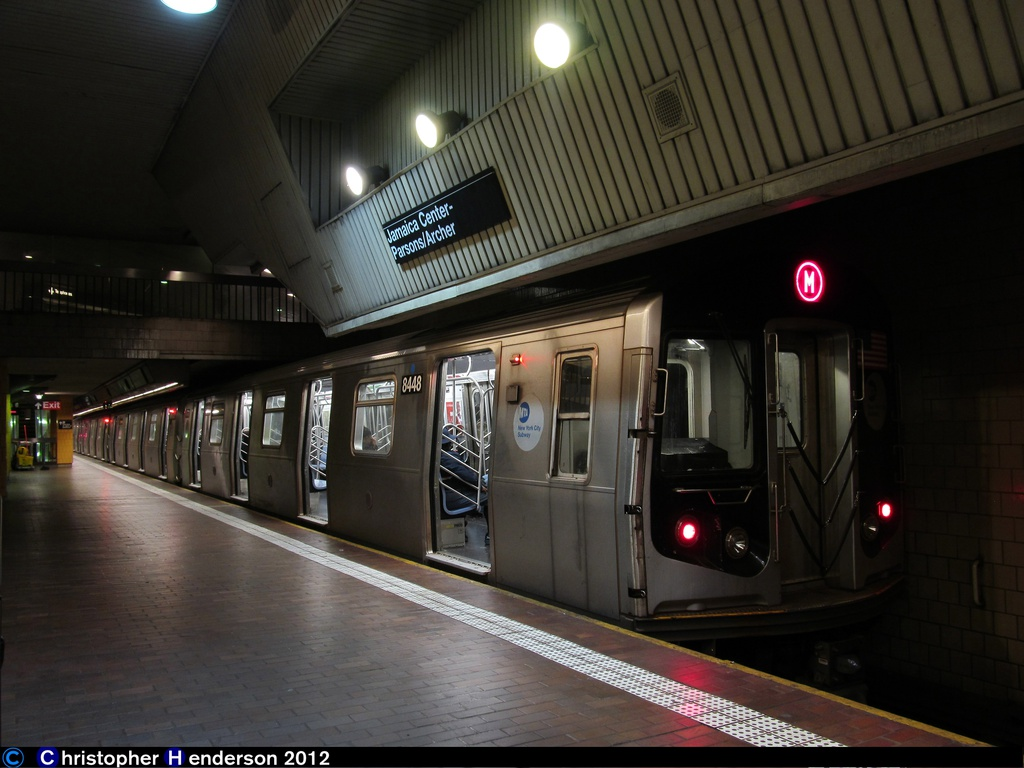(234k, 1024x768)<br><b>Country:</b> United States<br><b>City:</b> New York<br><b>System:</b> New York City Transit<br><b>Line:</b> IND Queens Boulevard Line<br><b>Location:</b> Jamaica Center/Parsons-Archer <br><b>Route:</b> M reroute<br><b>Car:</b> R-160A-1 (Alstom, 2005-2008, 4 car sets)  8448 <br><b>Photo by:</b> Christopher Henderson<br><b>Date:</b> 11/2/2012<br><b>Viewed (this week/total):</b> 3 / 1203