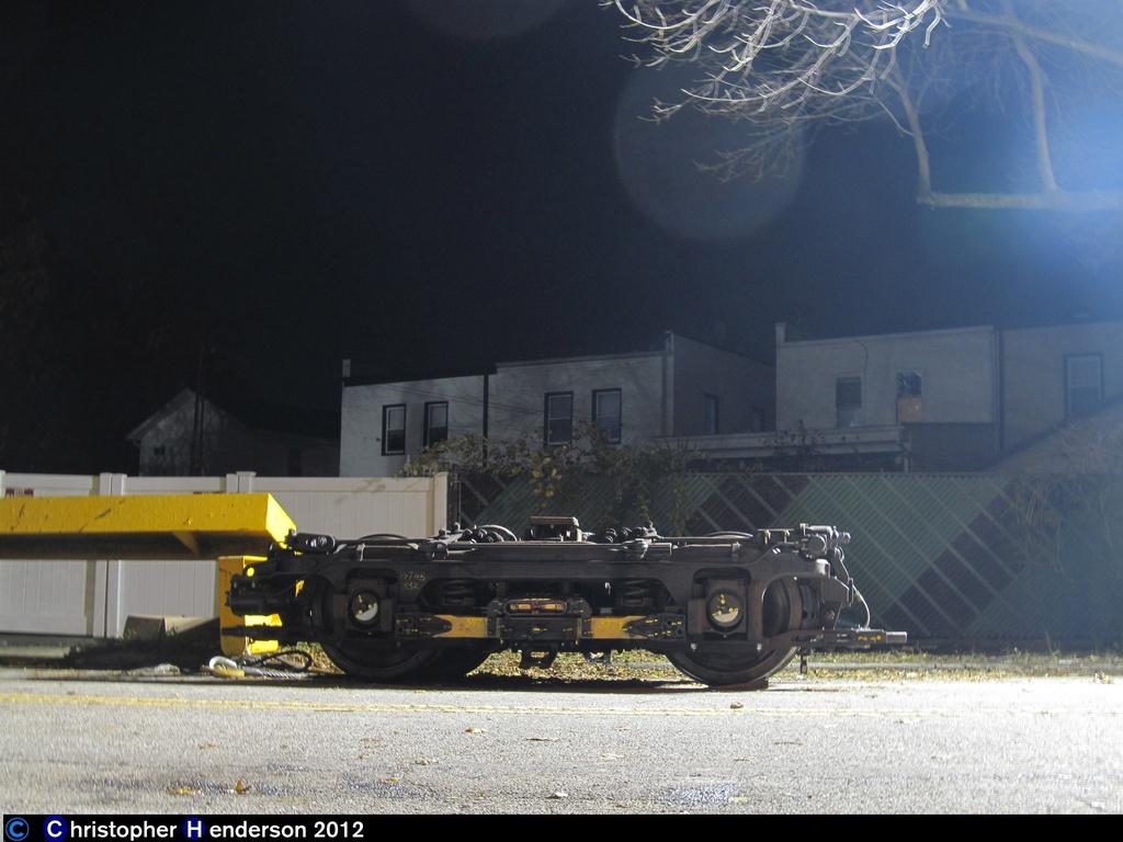 (236k, 1024x768)<br><b>Country:</b> United States<br><b>City:</b> New York<br><b>System:</b> New York City Transit<br><b>Line:</b> IND Rockaway<br><b>Location:</b> Aqueduct Racetrack <br><b>Car:</b> R-32 (Budd, 1964)   <br><b>Photo by:</b> Christopher Henderson<br><b>Date:</b> 11/9/2012<br><b>Notes:</b> R-32 truck being moved to Rockaways post-Sandy<br><b>Viewed (this week/total):</b> 0 / 1161