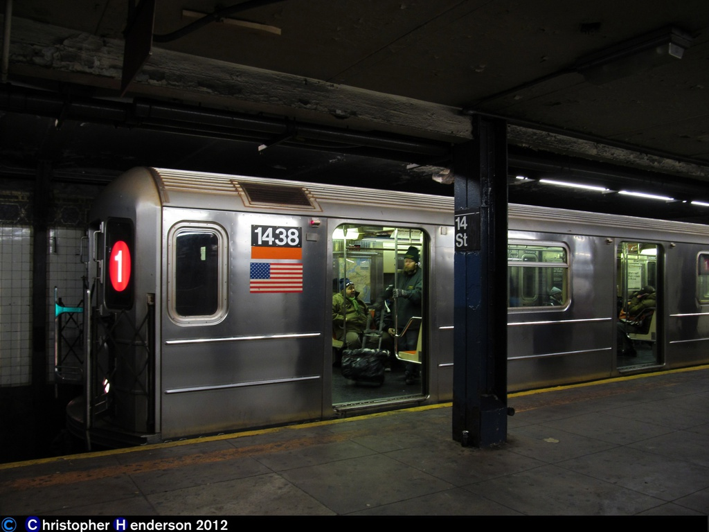 (206k, 1024x768)<br><b>Country:</b> United States<br><b>City:</b> New York<br><b>System:</b> New York City Transit<br><b>Line:</b> IRT West Side Line<br><b>Location:</b> 14th Street <br><b>Route:</b> 1<br><b>Car:</b> R-62 (Kawasaki, 1983-1985)  1438 <br><b>Photo by:</b> Christopher Henderson<br><b>Date:</b> 12/27/2012<br><b>Viewed (this week/total):</b> 1 / 1533