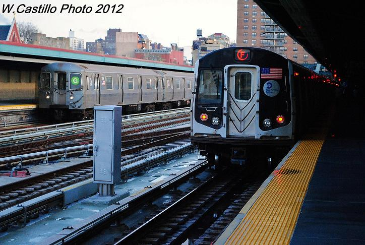 (126k, 724x486)<br><b>Country:</b> United States<br><b>City:</b> New York<br><b>System:</b> New York City Transit<br><b>Line:</b> IND Crosstown Line<br><b>Location:</b> 4th Avenue <br><b>Route:</b> G<br><b>Car:</b> R-68A (Kawasaki, 1988-1989)  5156 <br><b>Photo by:</b> Wilfredo Castillo<br><b>Date:</b> 12/18/2012<br><b>Notes:</b> With R160 F train<br><b>Viewed (this week/total):</b> 0 / 1108